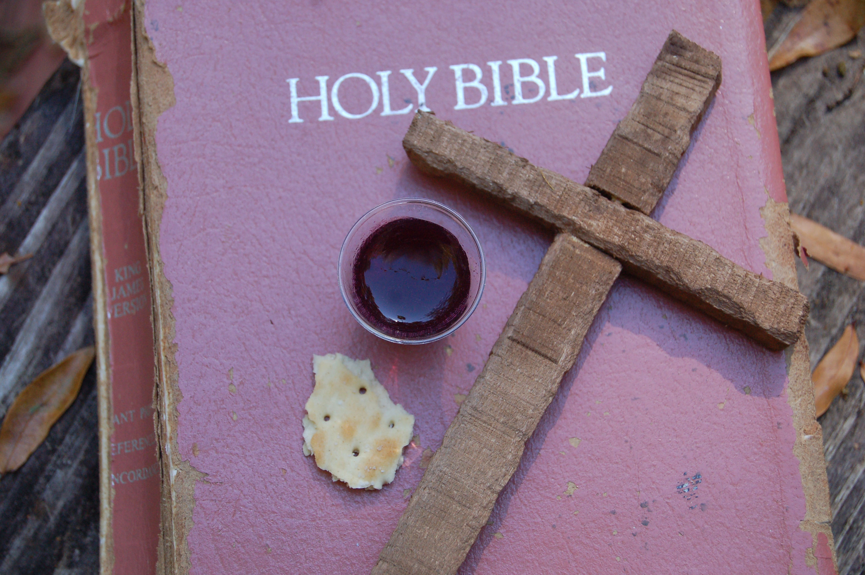 Christian Stock Photos by Linda Bateman - Wood Cross with Communion Emblems on Bible Cover