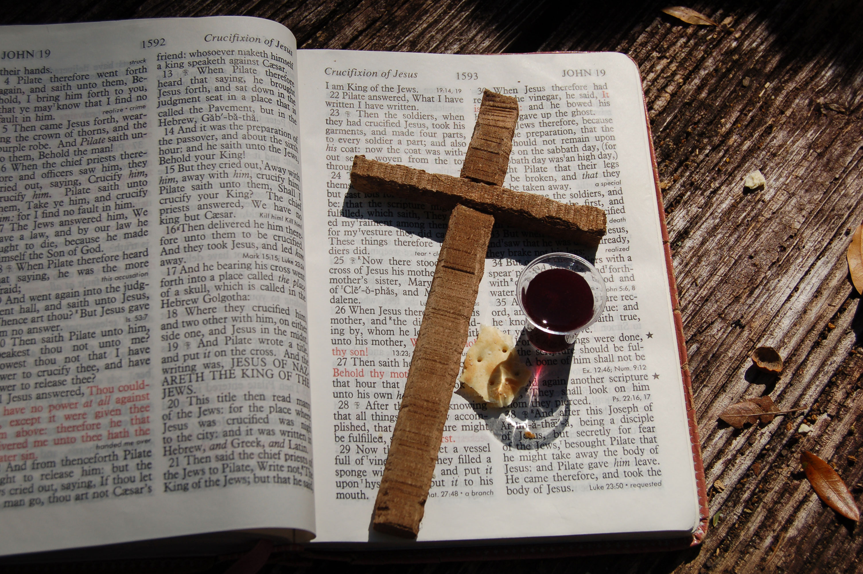 Christian Stock Photos by Linda Bateman - Wood Cross on Open Bible with Communion Emblems