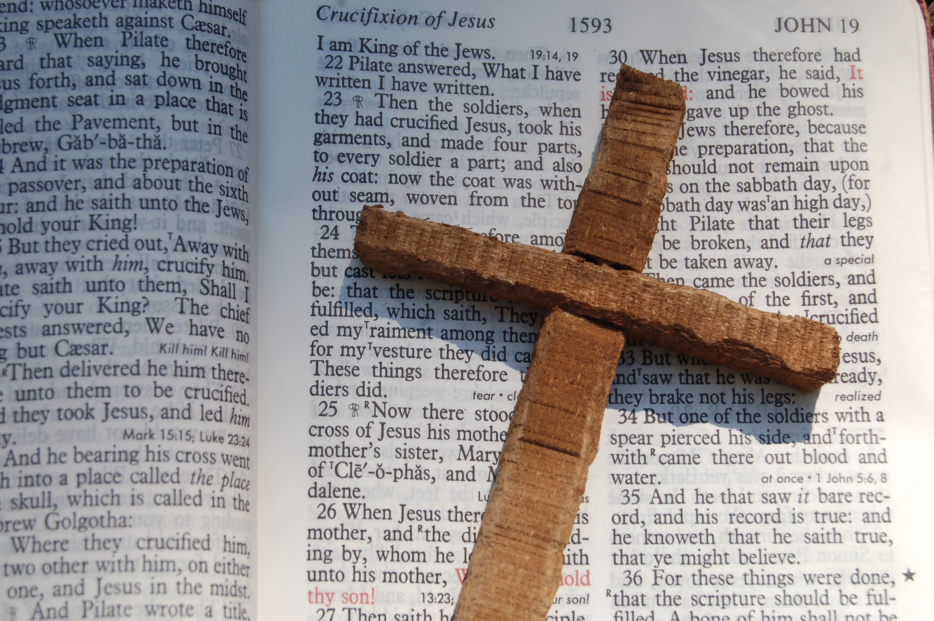 Christian Stock Photos by Linda Bateman - Wood Cross on Open Bible
