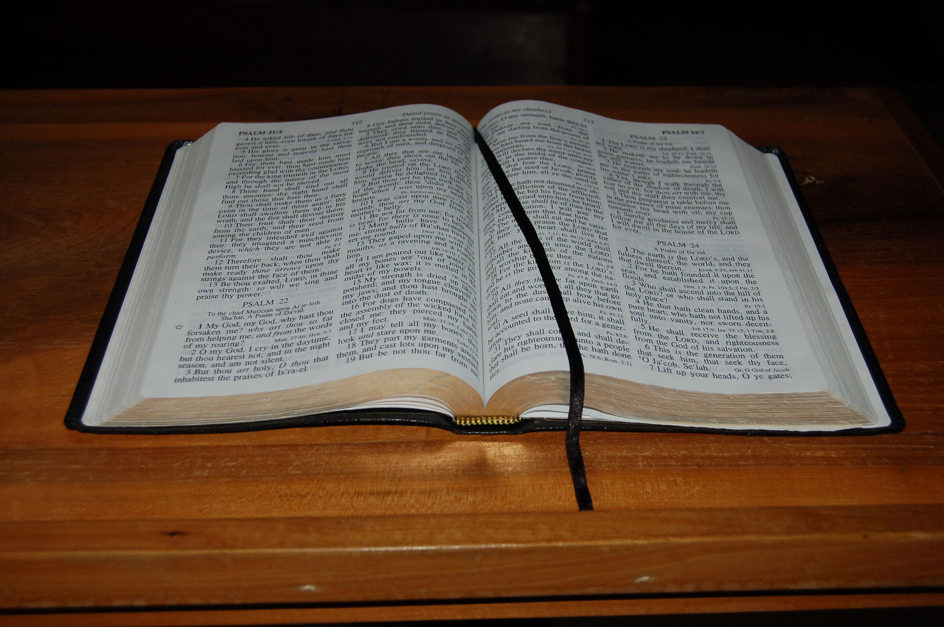 Christian Stock Photos by Linda Bateman - Open Bible on Wood Table