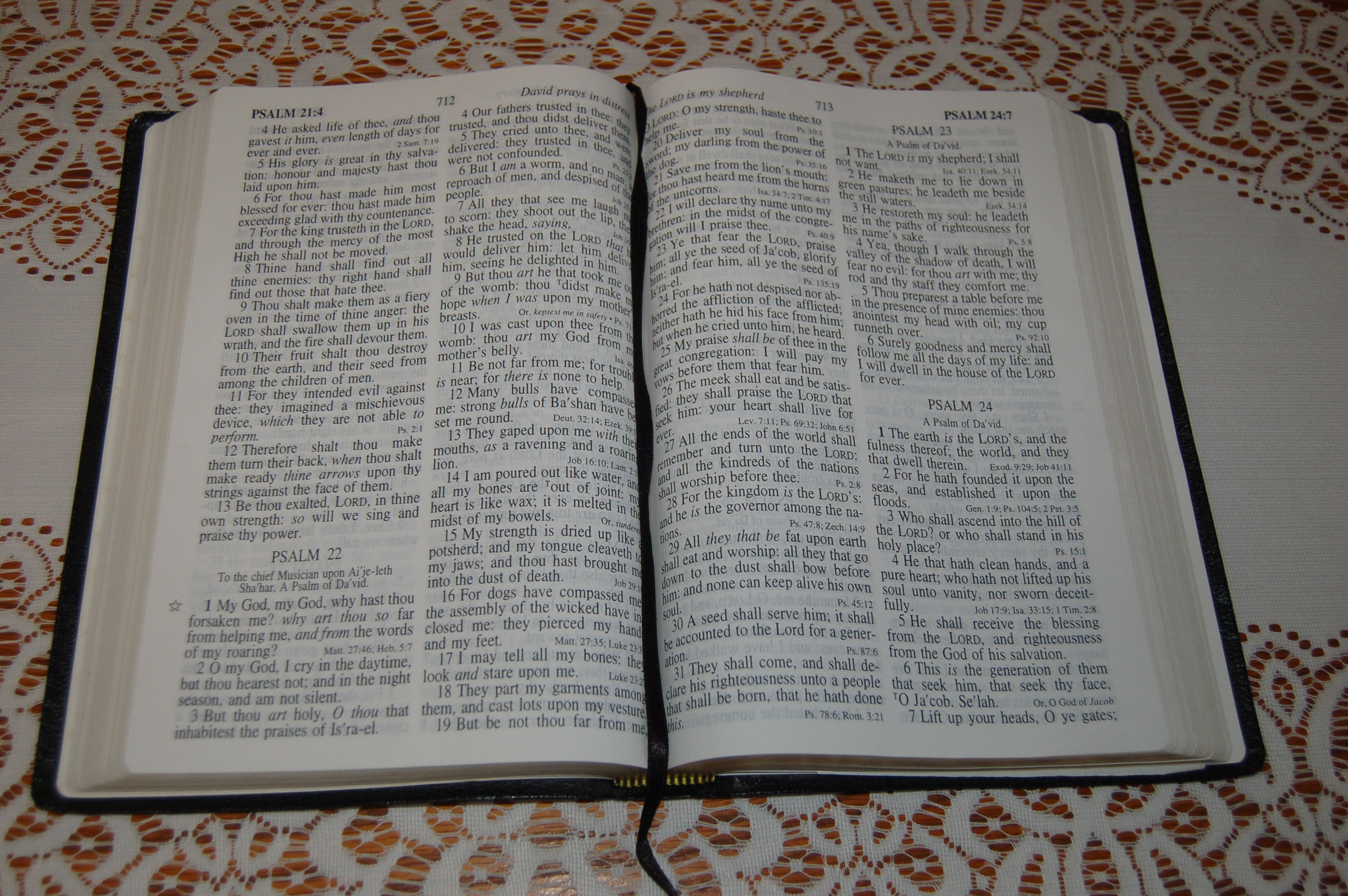 Christian Stock Photos by Linda Bateman - Open Bible on White Lace Tablecloth