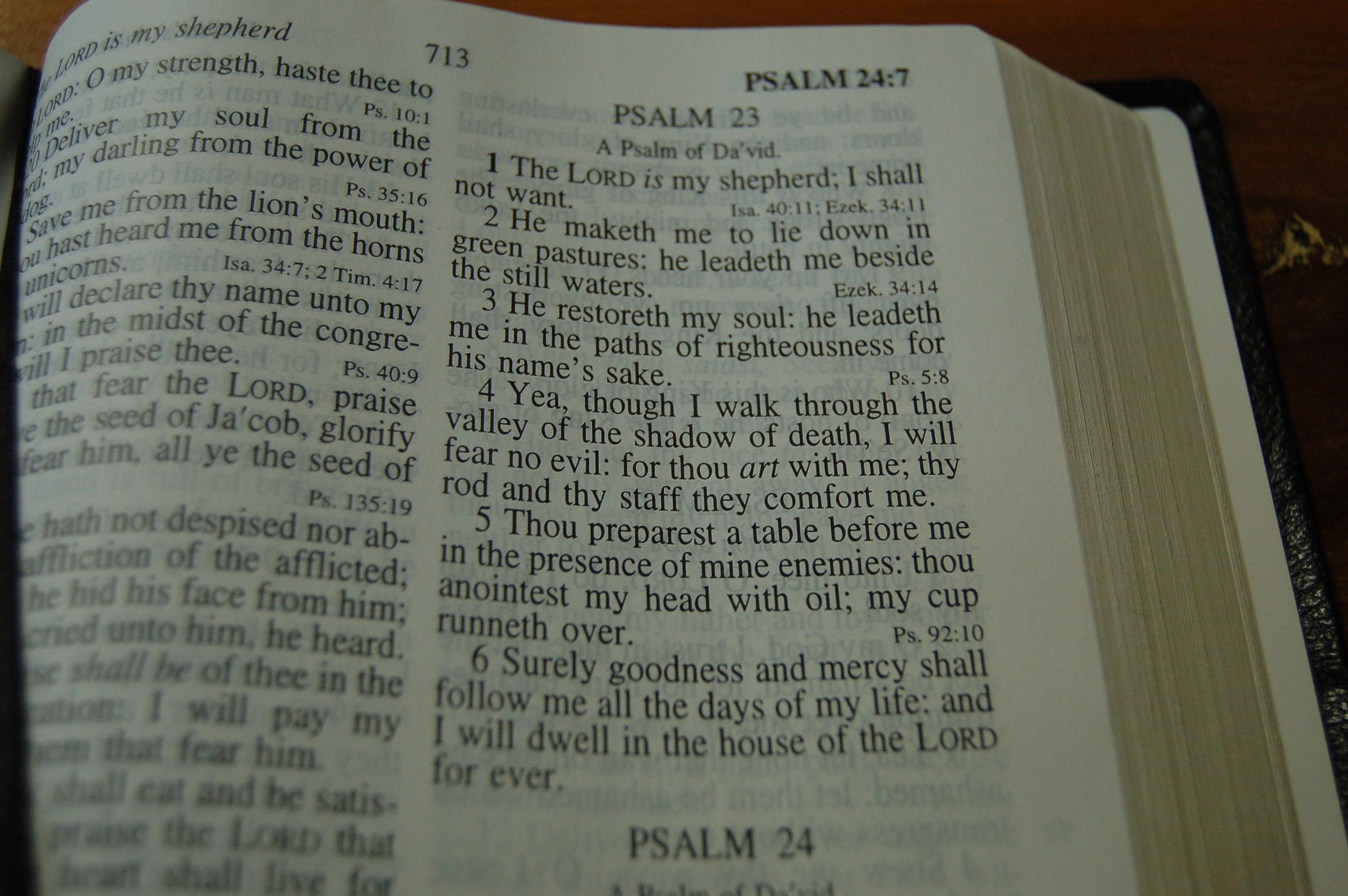 Christian Stock Photos by Linda Bateman - Bible Open to Psalm 23