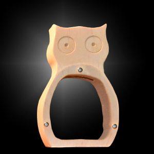 image of handcrafted wood owl bank